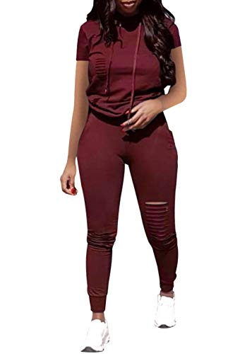 Women Casual 3 Piece Sport Outfits Short Sleeve Ripped Hole Pullover Hoodie Sweatpants Set Jumpsuits (Wine Red, XL)