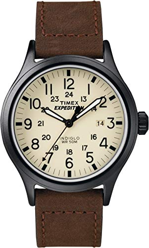 Timex Mens T49963 Expedition Scout Brown Leather Strap Watch