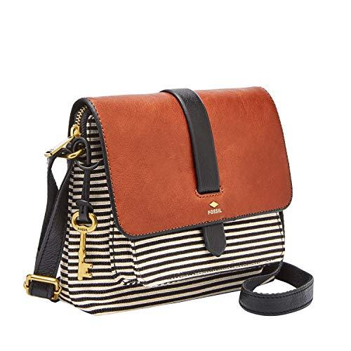 Fossil Womens Kinley Leather/Fabric Small Crossbody Handbag, Black Stripe