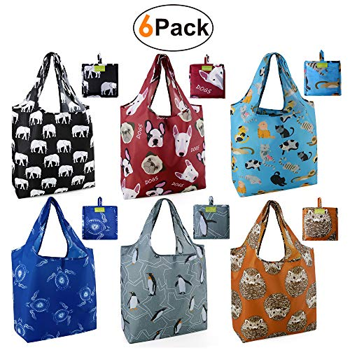 Grocery Bags Reusable Foldable 6 Pack Shopping Bags Large 50LBS Cute Groceries Bags with Pouch Bulk Ripstop Waterproof Machine Washable Eco-Friendly Nylon Elephant Hedgehog Cat Turtle Dog Penguin