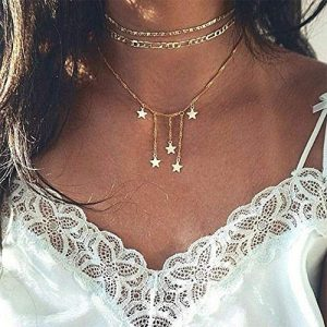 BERYUAN Women Halloween Gold star Punk Chain Star Pendant Necklace For Woman Teens Trendy Necklaces Pendants Charms