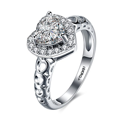 DreamSter 18K White Gold Plated Heart Cubic Zirconia Diamond Rings for Women Wedding Promise Engagement Band, by (7)